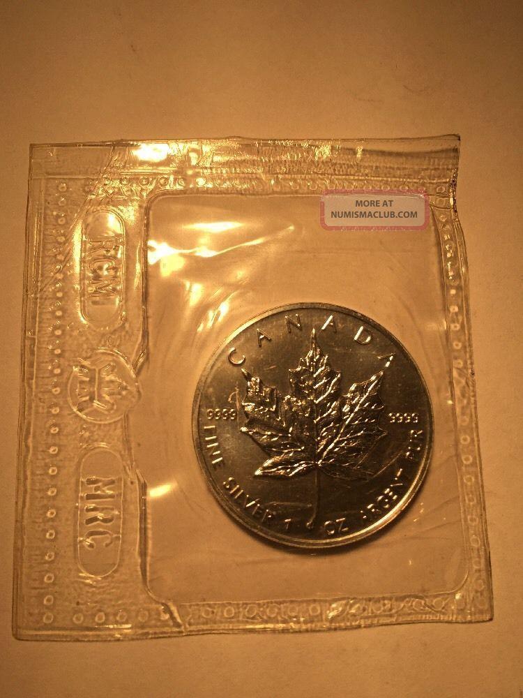1991 Canada 5 Maple Leaf 1 Oz Silver Bullion 9999 Fine