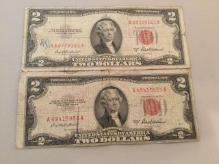 2 1953 - A $2 Two Dollar Bills Red Seal,  United States Note,  1953a photo