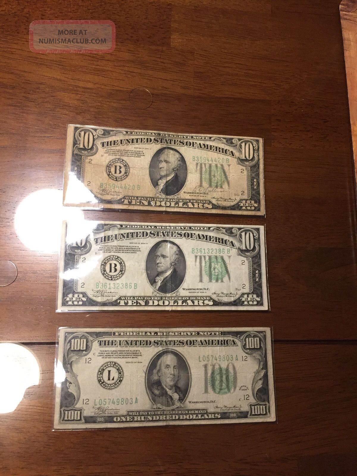 100 1 Hundred Dollar Bill 1934 Benjamin Franklin & 2x 1934 $10 Federal Reserve N Small Size Notes photo