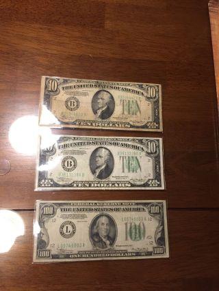 100 1 Hundred Dollar Bill 1934 Benjamin Franklin & 2x 1934 $10 Federal Reserve N photo