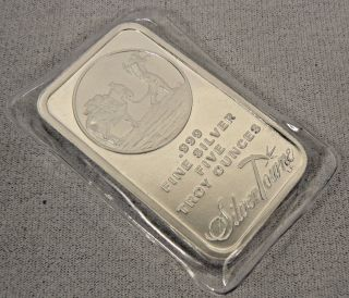 5 Oz Silvertowne Minting Logo.  999 Fine Silver Bar photo