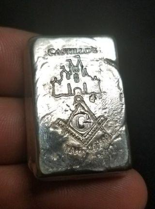 . 999 Silver Handpoured Castillos Masonic Bar Unique Like None Other Or Scrap photo