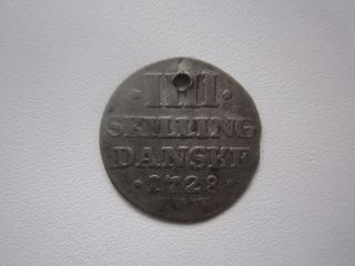 1728 Denmark 4 Skilling,  Pierced photo