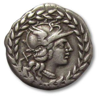 Ar Denarius Cn.  Gellius,  Rome 138 B.  C. photo