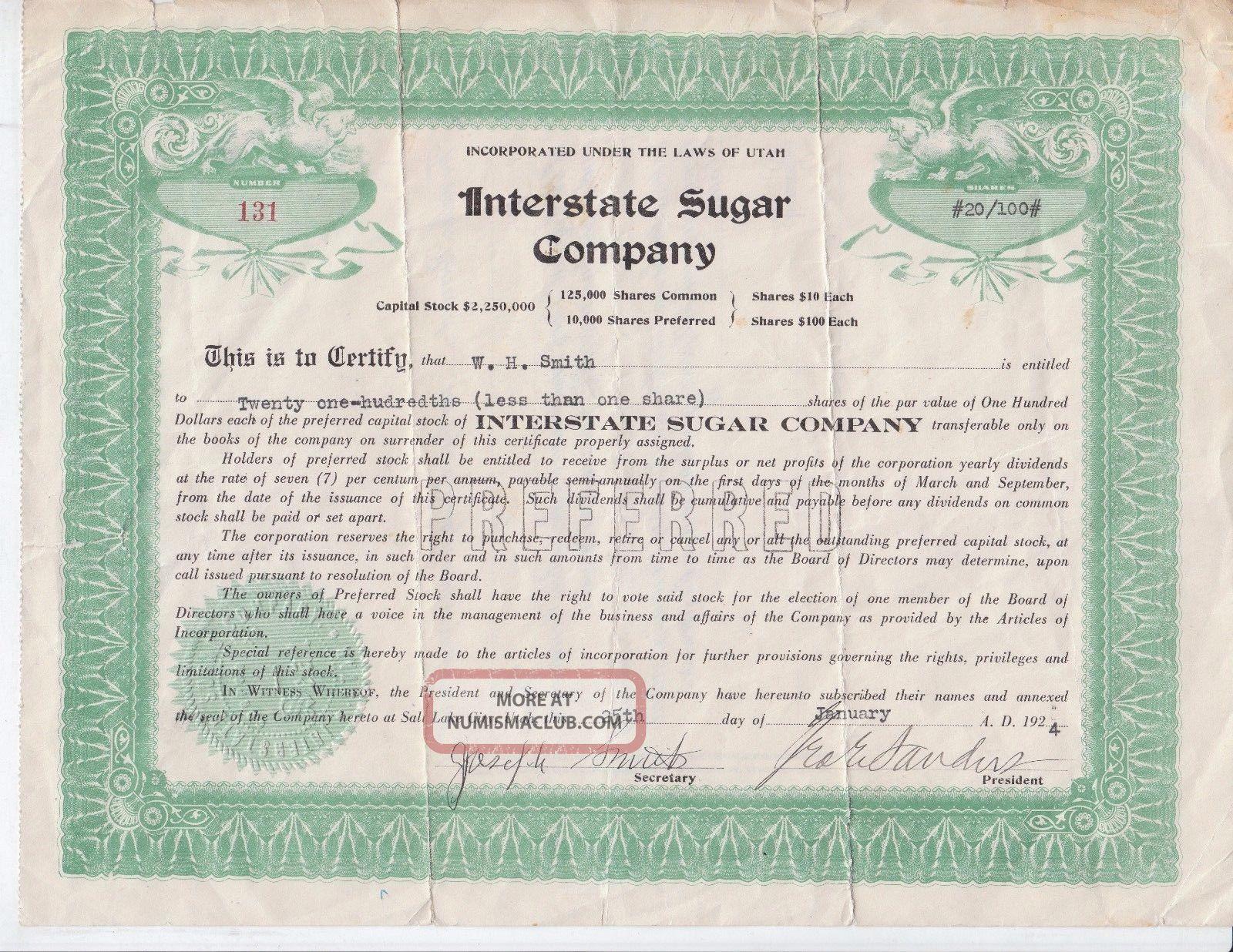 Interstate Sugar Company Of Utah Preferred Stock Shares Certificate 1924 Rare Stocks & Bonds, Scripophily photo