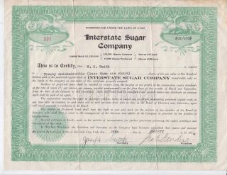 Interstate Sugar Company Of Utah Preferred Stock Shares Certificate 1924 Rare photo
