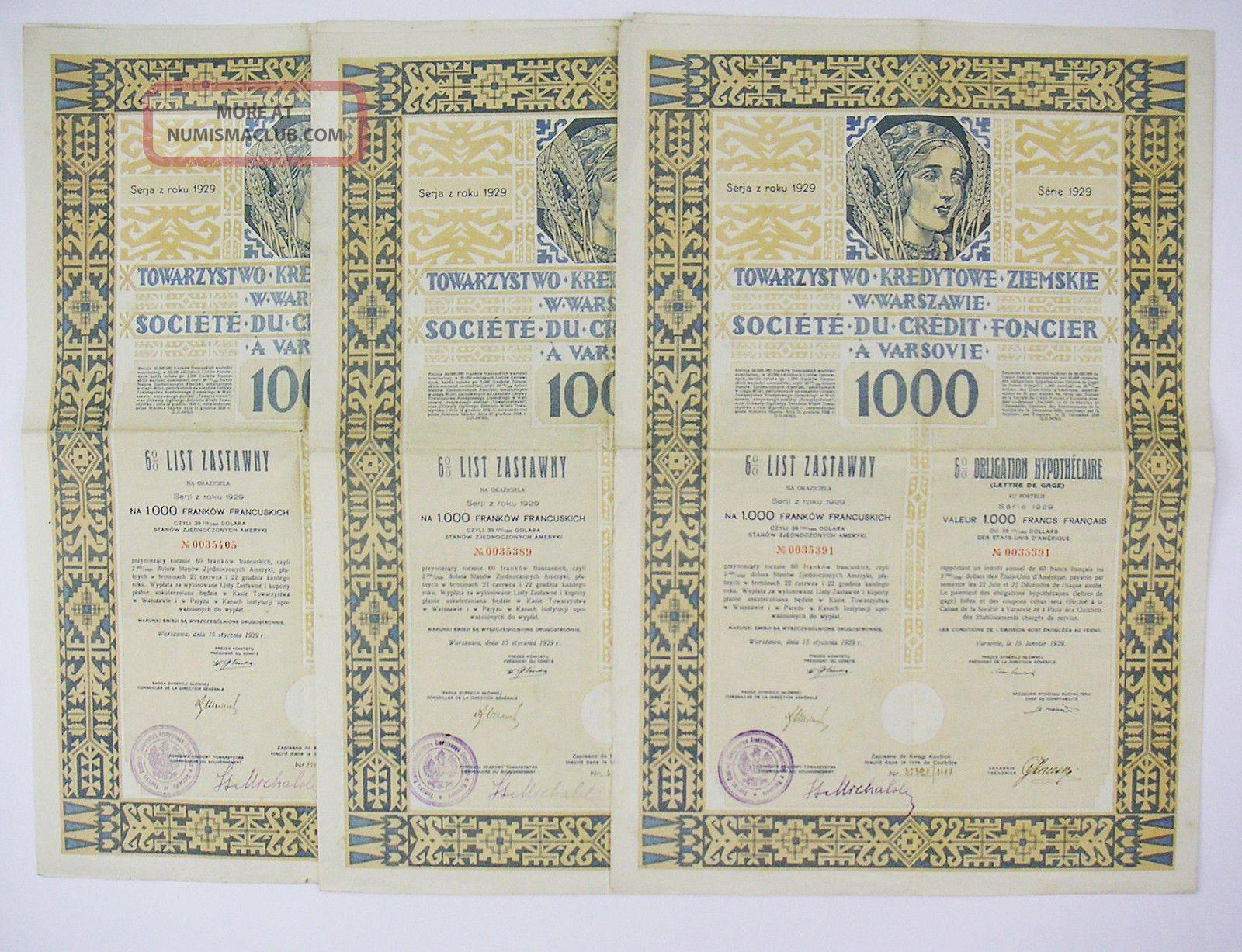 Poland 1929 - Société Du Crédit Foncier à Varsovie 1000f (x3) Stocks & Bonds, Scripophily photo