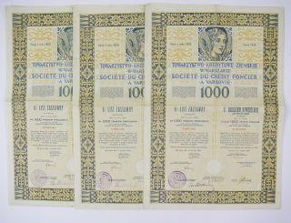 Poland 1929 - Société Du Crédit Foncier à Varsovie 1000f (x3) photo