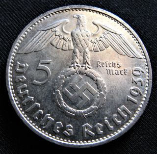 Xrare 1939d 5 Mark German Big 90 Silver Nazi Swastika Germany 3rd Reich Ww Coin photo