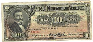 Mexico S439c Banco Mercantil De Veracruz Mexico 10 Peso 1910 Issue photo