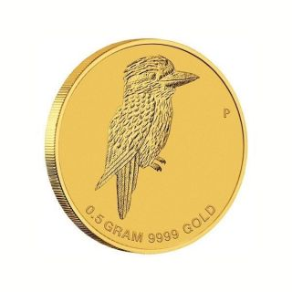 Perth Australia $2 2014 Mini Kook Kookaburra 1/2 G 0.  5 G Gram Gold Coin photo