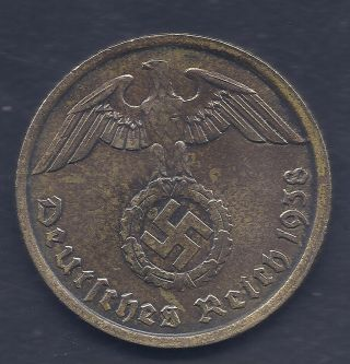 Nazi Germany Third Reich 1938 A 10 Rpf Swastika Nazi Eagle Coin Ww2 Era Coin photo