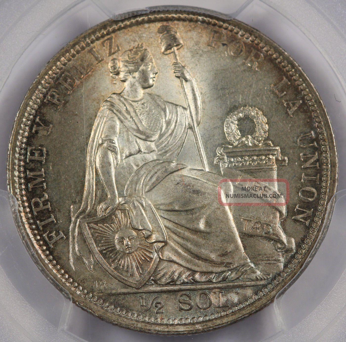 Peru 1915 Fg Jr 1/2 Sol Silver Coin Pcgs Ms66 Gem Bu Very Pretty Peru photo