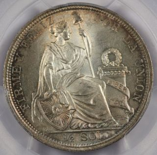 Peru 1915 Fg Jr 1/2 Sol Silver Coin Pcgs Ms66 Gem Bu Very Pretty photo