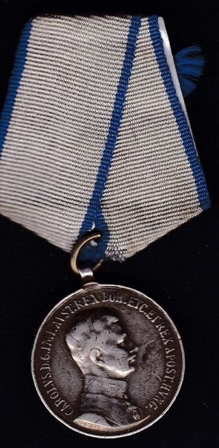 Austria/hungary Silver,  1916 War Medal Kaiser Karl 1st Awarded For Officers photo