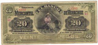 Mexico S440b El Banco Mercantil De Veracruz Mexico 20 Peso 1902 Issue photo