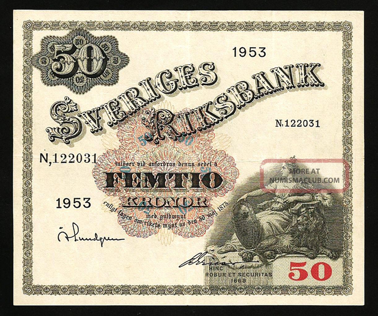 Sweden 50 Kronor 1953 Axf P.  35af Europe photo