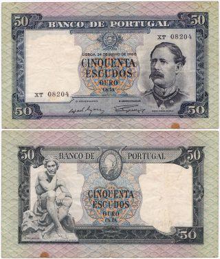 Portugal,  50 Escudos 1960,  Pick 164,  F/vf photo