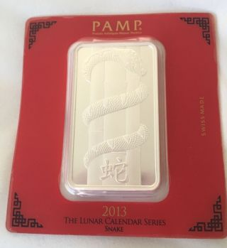 Pamp Suisse Lunar Calendar Series 2013 Snake 100 Gram Silver Bar photo