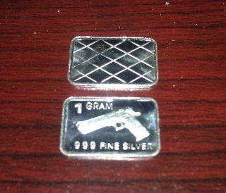 X5 Silver 1 Gram.  999 Fine Hand Gun Limited Run 2nd Amendment Right 2 Bear Arms photo