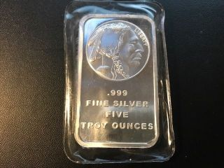 Silvertowne Trademark Indian Head 10oz.  999 Fine Silver Bar Pic Is Of 5oz photo