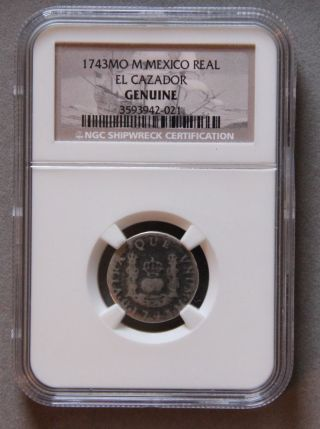 1743 M One Reales Silver Coin 1784 El Cazador Shipwreck Rare Date 1 R photo