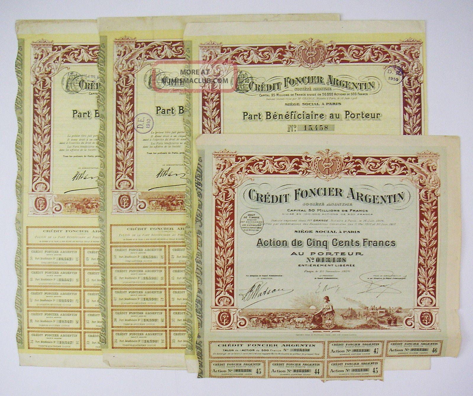 Argentina 1906 – Crédit Foncier Argentin - Part Bénéficiaire & Action (x4) Stocks & Bonds, Scripophily photo