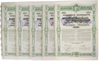 Hungary 1911 - Banque Commerciale Hongroise De Pest 500f 4 Bond (x5) photo