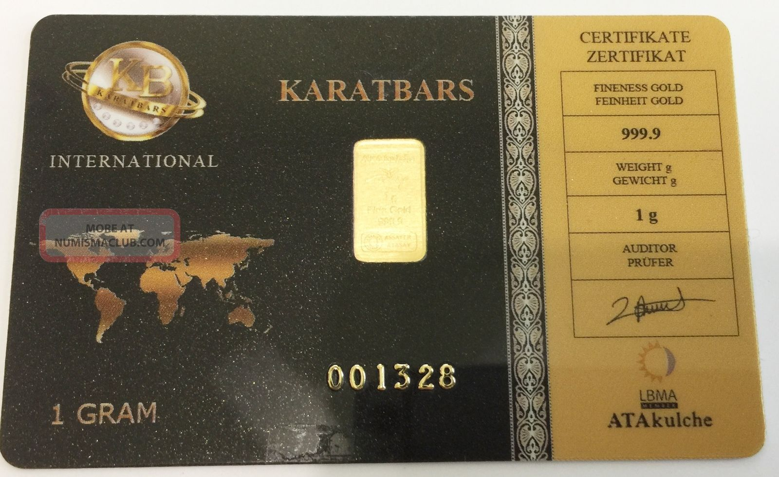 Karatbars Certified 1 G 9999 Fine Gold Bar