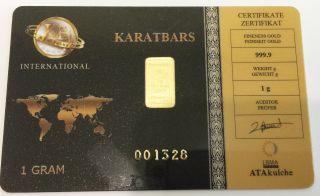 Karatbars (certified) 1 G.  9999 Fine Gold Bar photo