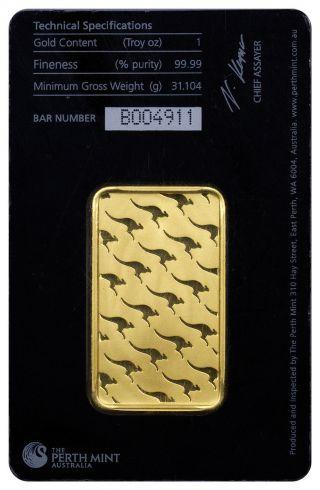 1 Oz Gold Bar - Perth - 99.  99 Fine Gold Ounce In Assay Certificate photo