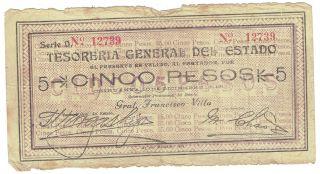 Mexico S554b Tesoreria General Del Estado General State Treas 5 Peso 1913 Issue photo
