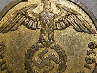 1939 Rare Old Wwii Nazi Hitler Germany 3rd Reich Brass Reichspfennig War Coin photo