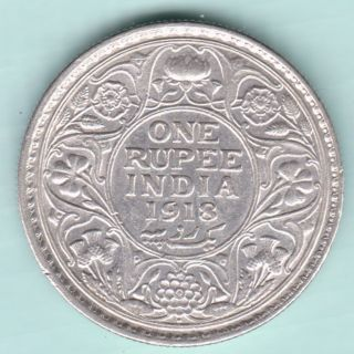 British India - 1918 - King George V Emperor - One Rupee - Rare Silver Coin photo
