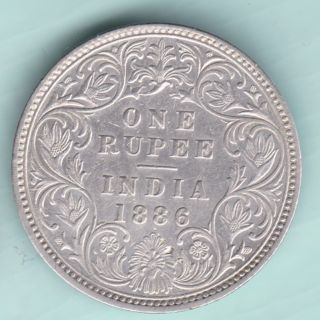 British India - 1886 - Victoria Empress - One Rupee - Rarest Date Coin photo