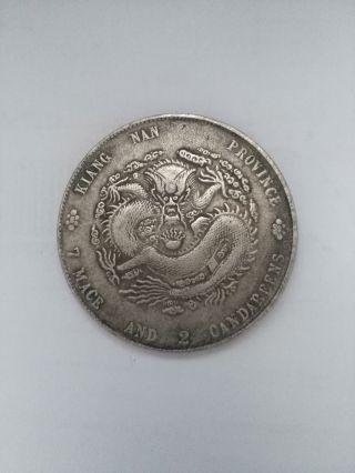 Collectio Chinese Silver Dollar Coin Qing Dynasty Dragon Guang Xu Yuan Bao photo