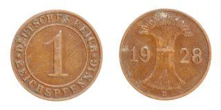 Germany Weimar Republic 1928 D Munich 1 Reichspfennig Km 37 Bronze Coin 175 photo