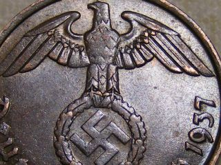 1937 Copper Wwii Nazi Hitler Germany 3rd Reich Munich 2 Reichspfennig War Coin photo