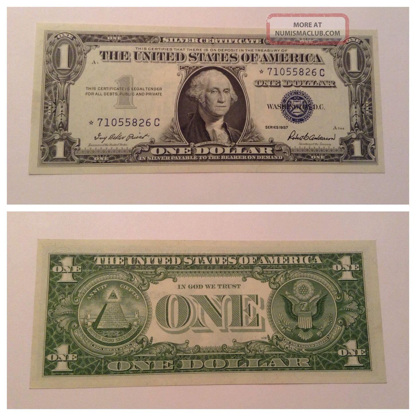 Vintage 1 Star 1957 Silver Certificate One Dollar Bill Washington