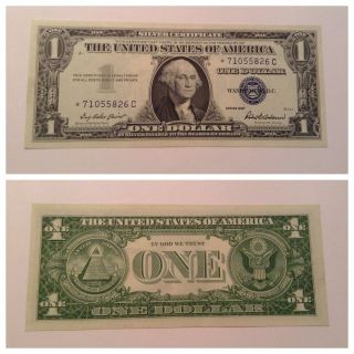 Vintage $1 Star 1957 Silver Certificate One Dollar Bill Washington Blue Vnc photo