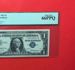 1957 $1 Unc Silver Certificate,  Pcgs Graded Gem 66 Ppq. photo