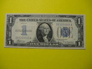 "1934 $1 One Dollar ""funnyback"" Silver Certificate Crisp photo"