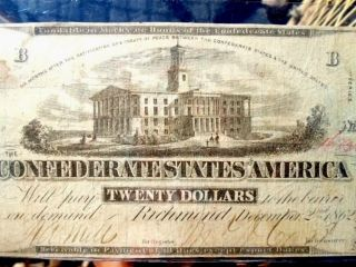 1862 (t - 51) $20 Dollar Note - Rare Confederate Currency - No Pinholes/bold Print photo
