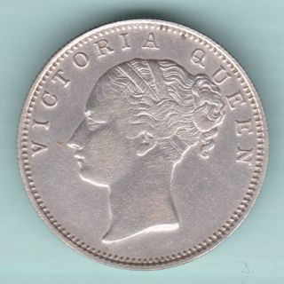 British India - 1840 - Victoria Queen - Continuos Legend - One Rupee - Rare Silv photo
