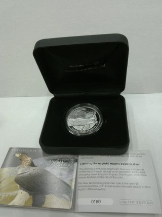 2016 Zealand Haast ' S Eagle Proof Silver 1 Oz 999 5 Dollars Box photo