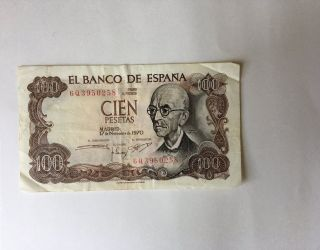 100 Pesetas Banknote Spain 1970 Cir.  Manuel De Falla photo