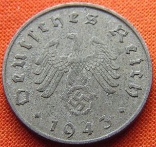 Ww2 German 1943 - A 10 Rp Reichspfennig 3rd Reich Zinc Nazi Coin (rl 1754) photo