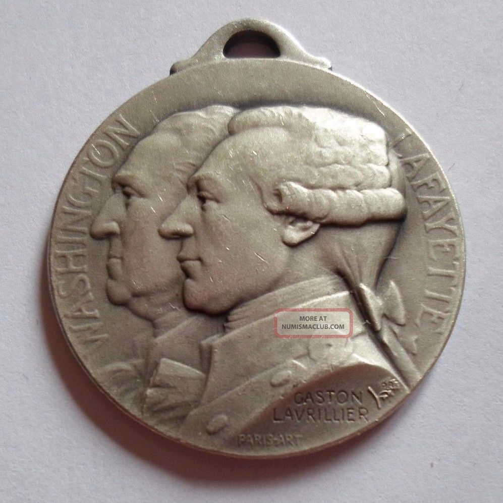 1917 Ww1 Washington Lafayette France & Usa Bastille & Independence Day Medal Exonumia photo