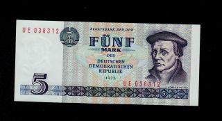 Germany Democratic 5 Deutsche Mark 1975 Ue Pick 27 Unc. photo