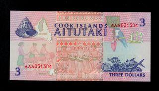 Cook Islands 3 Dollars (1992) Aaa Pick 7 Unc. photo